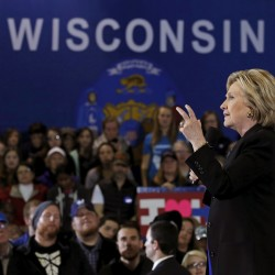 Former Democratic presidential candidate Hillary Clinton speaks at a campaign event in Milwaukee on March 28, 2016.