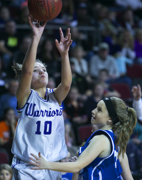 Southern Aroostook's Kylie Vining (left) shoots over Central Aroostook's Caitlyn Harris during their Class D North girls semifinal basketball game at the Cross Insurance Center in Bangor last season. Both players will try to lead their teams back to Bangor this season.