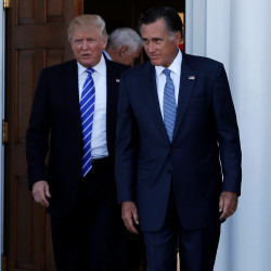President-elect Donald Trump and former Massachusetts Gov. Mitt Romney emerge after a meeting at the main clubhouse at Trump National Golf Club in Bedminister, New Jersey, Nov.19, 2016.