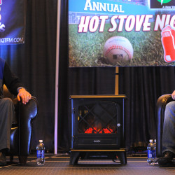Boston Red Sox broadcasters Joe Castiglione (left) and Dave O'Brien take part in the annual Hot Stove Night at the Cross Insurance Center in Bangor in this January 2014 file photo.