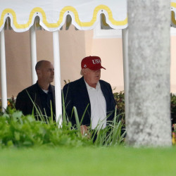 President-elect Donald Trump departs his Mar-a-Lago estate in Palm Beach, Florida, Nov. 27, 2016, as he makes his way to New York after spending the Thanksgiving holiday with family.