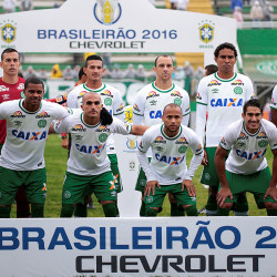Players of the Chapecoense soccer team pose for a photo before their Brazilian Series A Championship match against America Mineiro in Chapeco, Brazil, in March. All but three team members were killed in a Monday night plane crash in Colombia.