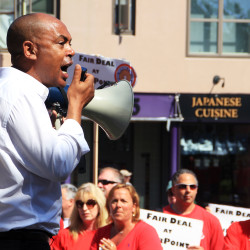 Tefere Gebre, executive vice president with the AFL-CIO, said Monday that the federated union group has offered its financial and legal help to the two unions pursuing a new contract with FairPoint in Maine, New Hampshire and Vermont.