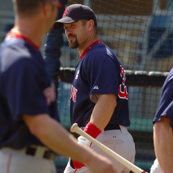 Red Sox catcher Jason Varitek gets ready for batting practice on March 9, 2007, at City of Palms Park in Florida.