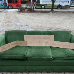 "A couch placed in Pickering Square by Shaw House, an agency that works with homeless and at-risk youth, can be seen during a #CouchesDontCount rally on Wednesday in Bangor. #CouchesDontCount was started last year in Philadelphia to highlight the fact that about 50 percent of homeless youth aren't counted because they ""couch surf."""