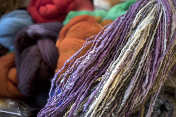 Hand-spun yarn and hand-dyed fleece can be seen on Monday at One Lupine Fiber Arts in Bangor.