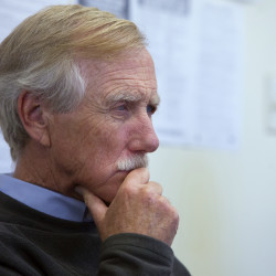 Sen. Angus King listens as Bucksport officials discuss the potential redevelopment of the former Verso Paper mill in Bucksport recently.