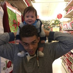 Bucksport High School graduate Ray Wood carries his 4-month-old son, Liem, on his shoulders during a recent shopping trip in San Antonio, Texas. Wood, who has been balancing his mixed martial arts pursuits and work with life as a new father, is preparing for the co-main event in Bellator 166 on Friday in Oklahoma.