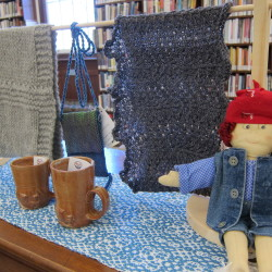 Caption info: Hand-crafted items for sale at the Blue Hill Public Library to benefit kids in need.