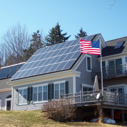 Solar electricity and solar hot water at a home in coastal Maine