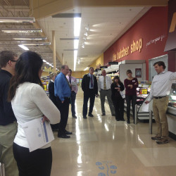 GSC Program Manager Peter Cooke trains Hannaford staff about the many benefits of sustainability for a grocery store.
