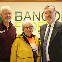 End of a journey...After walking nearly 800 miles on foot, Brenda Davis (c) completed the 15th Annual Maine Credit Unions' Ending Hunger Walking Tour at Bangor FCU in Bangor, where she was greeted by Steve Clark, President/CEO, at Jon Paradise, VP of Governmental & Public Affairs for the Maine Credit Union League, which helps coordinate the Walk and the Maine CUs' Campaign for Ending Hunger.