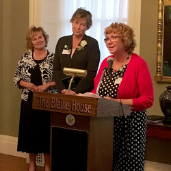 Elizabeth Rolfe (right), vice president of Clinical Operations for VNA Home Health Hospice, along with the First Lady of Maine, Ann LePage (left), presented the Caregiver of the Year award to Kristine Rogers, RN, (center) during the Annual Blaine House Tea in Augusta, Maine on November 3, 2016.