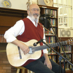 Noel Paul Stookey performing at the Blue Hill Public Library holiday party.