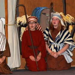 """The annual Pen Bay Christian School Christmas program """"The Good News Flash,"""" will be held Friday, December 9th. From left, Charlotte Callahan, Zachary Woodman, Maggie Callahan, Vivian Odone, Levi Smith."""