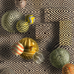 Zig Zag Kilim Balls created in Photoshop by artist, Kris Engman