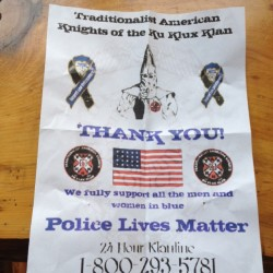 Some residents of the Knox County towns of Union and Appleton received flyers purporting to be from the Traditionalist American Knights of the Ku Klux Klan over the weekend. A resident who received one said that the flyer was bagged in plastic and weighted down. A dispatcher said Sunday that the flyers have been the subject of complaints lodged with the Knox County Sheriff's Office.