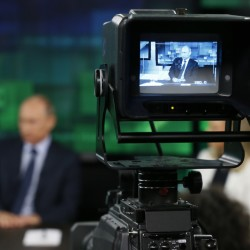 """Russian President Vladimir Putin, in an interview with RT in 2013, said that he wanted to """"break the Anglo-Saxon monopoly on the global information streams."""""""