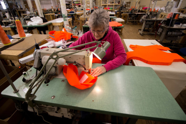 Alice Quirion of Skowhegan sews together a Dog Not Gone dog vest on Nov. 1, at Maine Stitching Specialties in Skowhegan, where she has worked since 1996. Since Dog Not Gone was established in 2005, Qurion has been making products for the company.