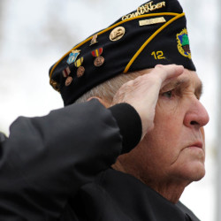Bob Vachon of Orrington salutes during the playing of Taps at a special service honoring all who have served and continue to serve at the Maine Korean War Memorial at Mount Hope Cemetery on Friday. Vachon served in the U.S. Army from 1953-1955.