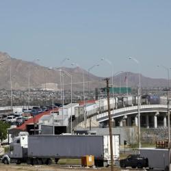 Transport trucks cross the Tornillo-Guadalupe international bridge into the U.S. city of El Paso, Texas, as seen from Ciudad Juarez, Mexico, March 21, 2016.