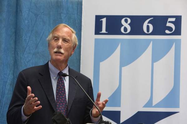 Sen. Angus King, I-Maine, speaks in July at the University of Maine in Orono.