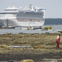 The Princess Cruise Lines ship Caribbean Princess sits anchored in Frenchman Bay while making its first-ever visit to Bar Harbor in this Aug. 28, 2008 file photo. The company has agreed to pay a $40 million criminal penalty for illegally dumping untreated pollution from the ship into the ocean for several years.