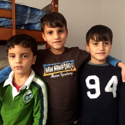 Omar, 4, Anas, 7, and Eyad Raslan, 6, resettled with their parents to Perth-Andover, New Brunswick, this summer. They came through a program of the Canadian government that allows private citizens to sponsor refugees.
