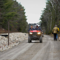 All-terrain vehcile riders and walkers enjoy the multiuse Down East Sunrise Trail that runs from Ellsworth to Ayers Junction in Pembroke on Friday. A ribbon-cutting ceremony for the newest section of the trail was held Friday morning at the Ellsworth trail head.