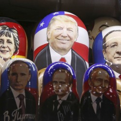 Painted Matryoshka dolls, or Russian nesting dolls, bearing the faces of U.S. Republican presidential nominee Donald Trump, German Chancellor Angela Merkel, French President Francois Hollande and Russian President Vladimir Putin are displayed for sale at a souvenir shop in central Moscow, Russia, on Nov. 7.