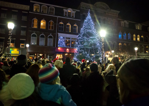 People look as the tree is lit up during the Festival of Lights parade in downtown Bangor Saturday. The theme this year was holidays from around the world.