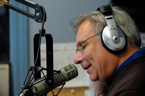 Veteran broadcaster Dale Duff talks to a caller on his radio show, &quotMorning Pitch,&quot last Friday.