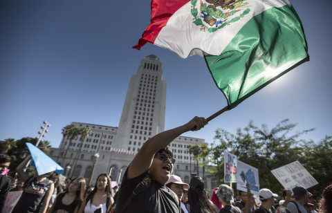 Students march on downtown Los Angeles after walking out of class on Nov. 14, 2016. Demonstrators demanded local politicians to declare Los Angeles County a sanctuary.