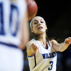 York High School guard Lilian Posternak passes the ball in the Maine Girls Class A Basketball Championship game in Portland on Feb. 27.
