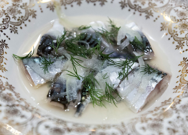 Pickled mackerel with onions and dill can be seen on Nov. 29 at Sammy's Deluxe in Rockland. The new restaurant focuses on Maine comfort food.