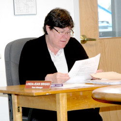 Waldoboro Town Manager Linda-Jean Briggs speaks during a meeting of the Waldoboro Board of Selectmen on April 26. Briggs will resign effective Jan. 20, 2017.