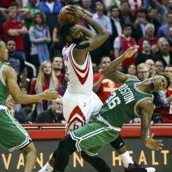 Houston Rockets guard James Harden (center) is called for a flagrant foul on Boston Celtics guard Marcus Smart (right) during the fourth quarter at Toyota Center in Houston on Monday night.