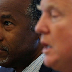 Ben Carson and Donald Trump speak during a round table with the Republican Leadership Initiative at Trump Tower in the Manhattan borough of New York, U.S. August 25, 2016.