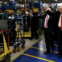 U.S. President-elect Donald Trump and Vice-President Elect Mike Pence tour a Carrier factory in Indianapolis, Indiana, U.S., December 1, 2016.