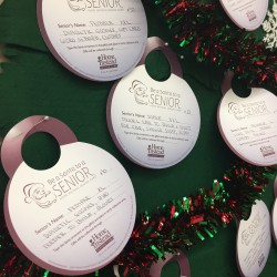 Ornaments for the Be A Santa to a Senior program for isolated, low-income seniors on the Blue Hill Peninsula are ready to be selected by shoppers at the Tradewinds market in Blue Hill on Monday.