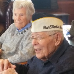 Ruth Parker of Camden and Floyd Keniston of Hollis, who were both in Hawaii 75 years ago for the Japanese attack on Pearl Harbor, shared some of their stories Wednesday, Dec. 7, 2016, at the State House in Augusta. Keniston was in the Navy and Parker was in the Women's Air Raid Defense of the Hawaiian Islands.