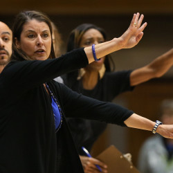 Duke Blue Devils head coach Joanne P. McCallie signals to her players from the sidelines in their game against the South Carolina Gamecocks at Cameron Indoor Stadium on Dec. 4.