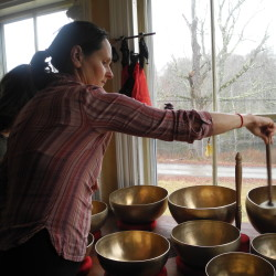 Nancy Durand Lanson, originally of Paris and who describes herself as a healer who uses Tibetan singing bowls in her work, talks about recently moving with her family to an old wooden house in Monroe.