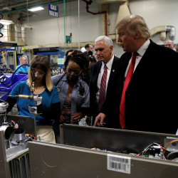 President-elect Donald Trump tours a Carrier factory in Indianapolis after the company announced it would keep some of its manufacturing jobs in the United States. While data overwhelmingly show that globalization has been a net plus for the global economy, there is no denying that the domestic costs of the new economy have fallen disproportionately on certain sections of the workforce.