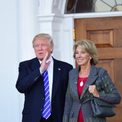 President-elect Donald Trump with Betsy DeVos, whom Trump has chosen as his secretary of education, on Saturday, Nov. 19, 2016 in Bedminster, New Jersey.