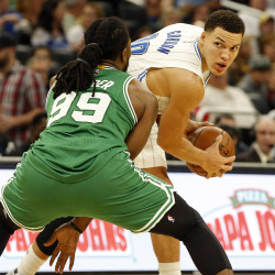 Orlando Magic forward Aaron Gordon (00) holds the ball as Boston Celtics forward Jae Crowder (99) defends during the second quarter at Amway Center in Orlando, Florida.