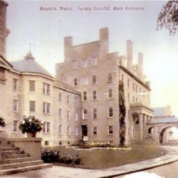 A postcard depicting buildings on the Augusta Mental Health Institute campus around 1900.