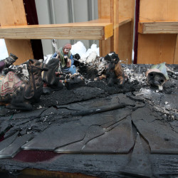 A table containing a Nativity scene, which caught fire early Monday morning, can be seen Tuesday at the Salvation Army headquarters on 12 Court St. in Houlton.