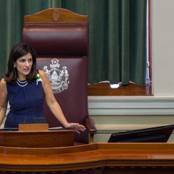 Maine Speaker of the House Sara Gideon, D-Freeport, speaks during the first session of the 128th Legislature on Wednesday at the State House in Augusta.