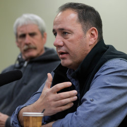 Kirk Francis, chief of the Penobscot Indian Nation, praises the new water quality standards issued by U.S. Environmental Protection Agency that will protect the tribe's sustenance fishing rights during a press conference on Friday on Indian Island.